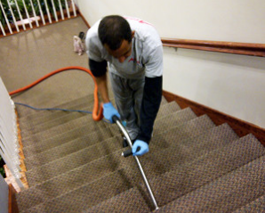 vacuuming hotel stairs